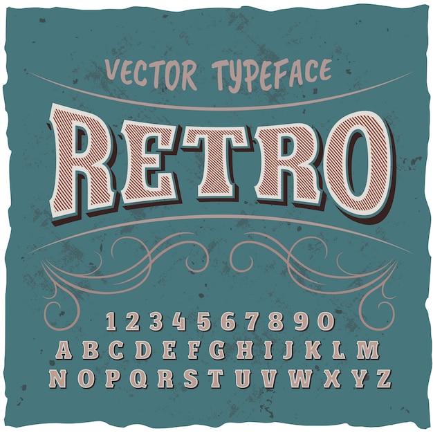 """Oryginalny krój pisma o nazwie """"retro""""."""