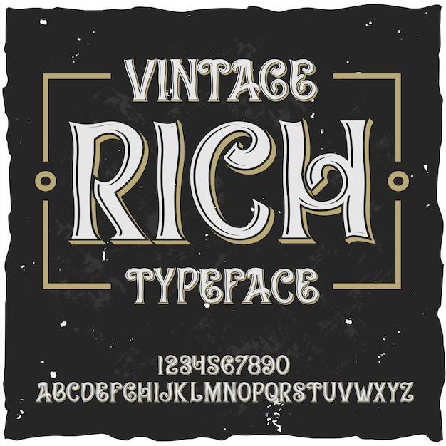 """Oryginalny krój pisma o nazwie """"rich""""."""