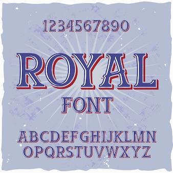 """Oryginalny krój pisma o nazwie """"royal"""". dobra, ręcznie wykonana czcionka do każdego projektu etykiety."""