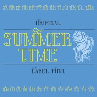 """Oryginalny krój pisma o nazwie """"summer time"""". dobry w użyciu w każdym projekcie etykiety."""