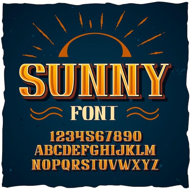 """Oryginalny krój pisma o nazwie """"sunny"""". dobra, ręcznie wykonana czcionka do każdego projektu etykiety."""