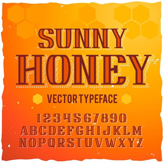 """Oryginalny krój pisma o nazwie """"sunny honey"""". dobra, ręcznie wykonana czcionka do każdego projektu etykiety."""