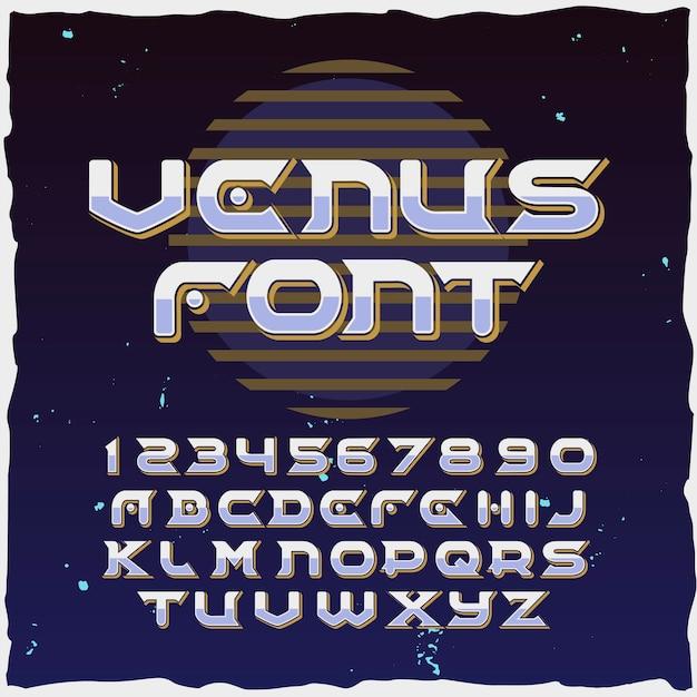 """Oryginalny krój pisma o nazwie """"wenus""""."""