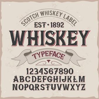"""Oryginalny krój pisma o nazwie """"whiskey""""."""