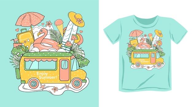 Oryginalny letni nadruk na koszulce, bluzie z kapturem. ilustracja.