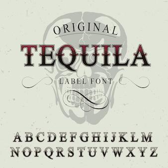 Oryginalny plakat z czcionką etykiety tequili