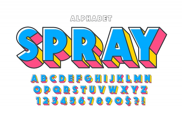 Oryginalny projekt czcionki 3d, alfabet, litery