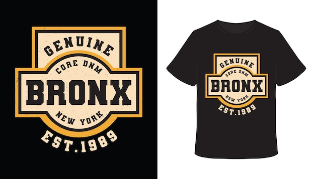 Oryginalny projekt koszulki typografii bronx
