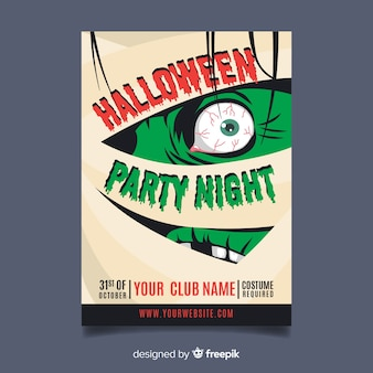 Oryginalny szablon plakat party halloween z płaska konstrukcja