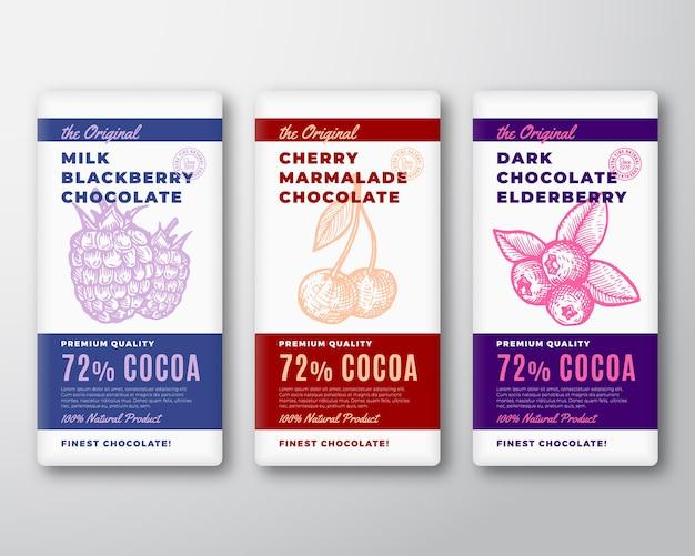 Oryginalny zestaw najlepszych czekoladowych abstrakcyjnych etykiet opakowań.