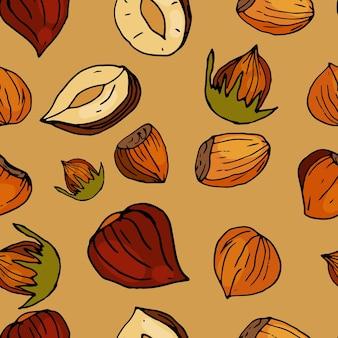Orzechy bez szwu orzechy laskowe na delikatnym beżowym tle ręcznie rysowane orzechy