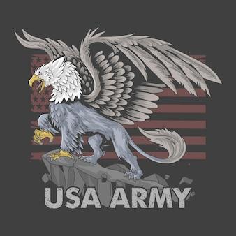 Orzeł gryf z ciałem lwa i dużymi skrzydłami jako symbol armii amerykańskiej