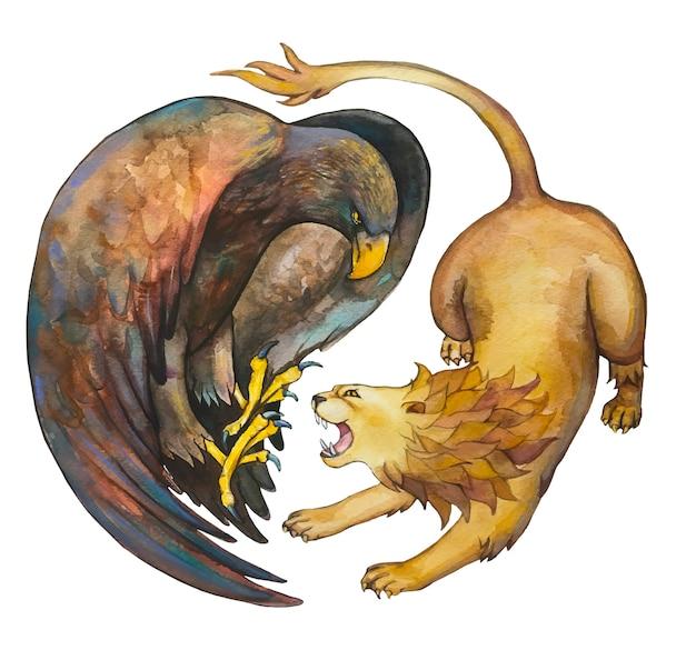Orzeł i lew; rysunek akwareli.