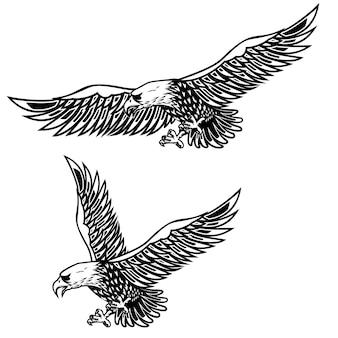 Orzeł ilustracja na białym tle. element plakatu, karty, druku, logo, etykiety, godła, znaku. wizerunek