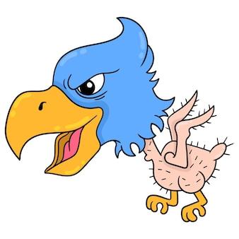 Orzeł latający z piór spadających ostrą twarz, ilustracji wektorowych sztuki. doodle ikona obrazu kawaii.