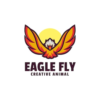 Orzeł leci prosty szablon logo styl maskotki