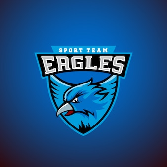 Orzeł w tarczy. szablon godło sportowe. logo ligi lub zespołu.