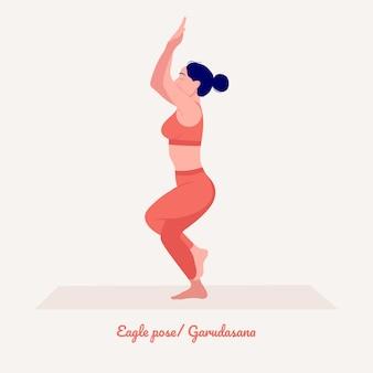 Orzeł yoga pose młoda kobieta ćwicząca ćwiczenia jogi