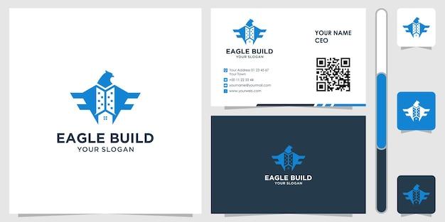 Orzeł z logo budynku z wektorem projektu wizytówki premium