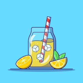 Orzeźwiająca lemoniada w szklanym słoiku z plasterkiem cytryny i płaska ikona ilustracja w paski słomy