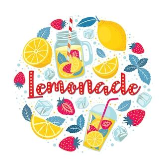 Orzeźwiająca lemoniada zestaw jasnych elementów w kole: cytryna, truskawka, mięta, filiżanka, słoik, kostki lodu, krople