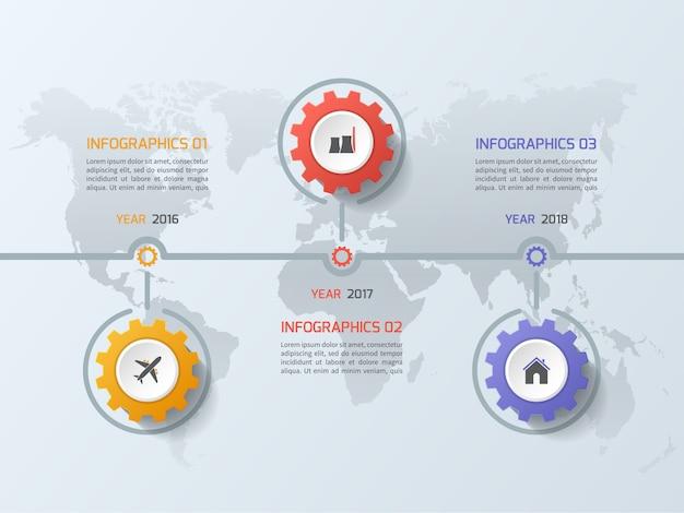 Oś czasu biznes infographic szablon z koła zębate koła zębate