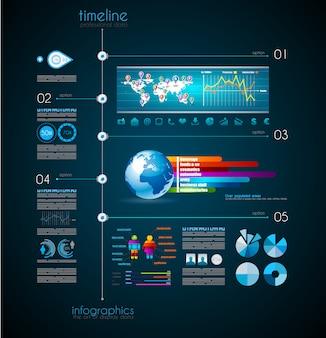 Oś czasu do wyświetlania danych z elementami infographic