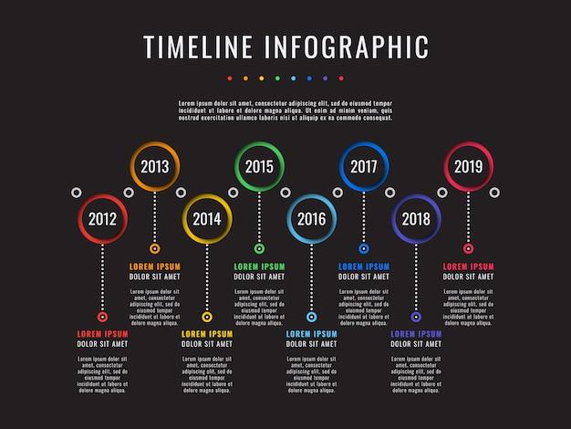 Oś czasu historii firmy na czarnych, biznesowych infografikach z 8 elementami wycinanymi z papieru