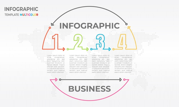 Oś czasu infografika koło i liczba 4 opcji.
