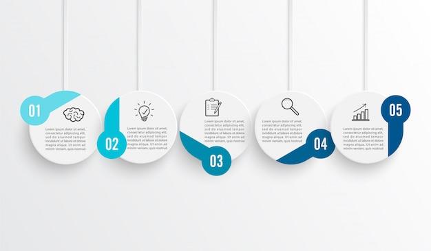 Oś czasu infografika w kolorze poziomym dla pięciu pozycji.