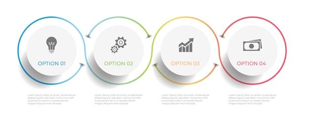 Oś czasu infographic szablon 4 opcje.