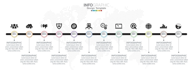 Oś czasu projekt infografiki na 1 rok, 12 miesięcy, czynności lub procesów.
