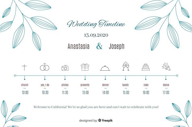 Oś czasu ślubu w stylu liniowym