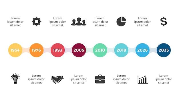 Oś czasu szablon infografiki slajd prezentacji mapy drogowej wykres 8 kroków