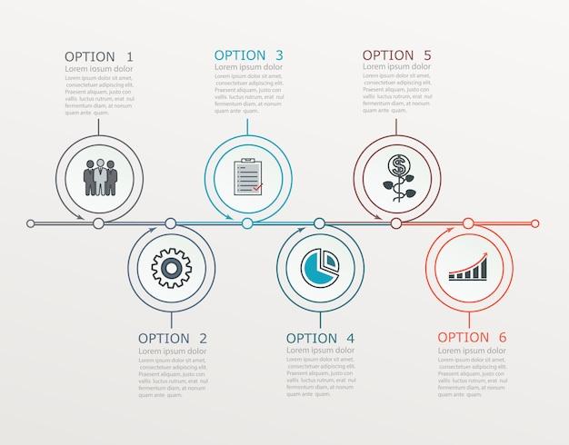 Oś czasu, szablon infografiki ze strukturą krokową