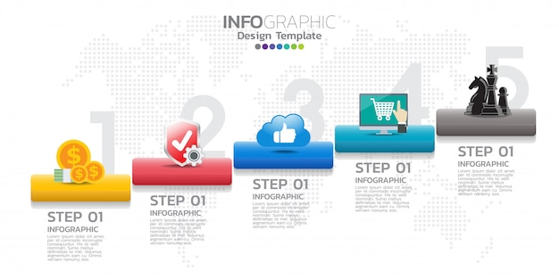 Oś czasu szablon infografiki ze strzałkami, schemat blokowy, przepływ pracy lub procesu.