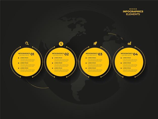 Oś czasu szablonu infografiki biznesowej z opcjami 4 kroków