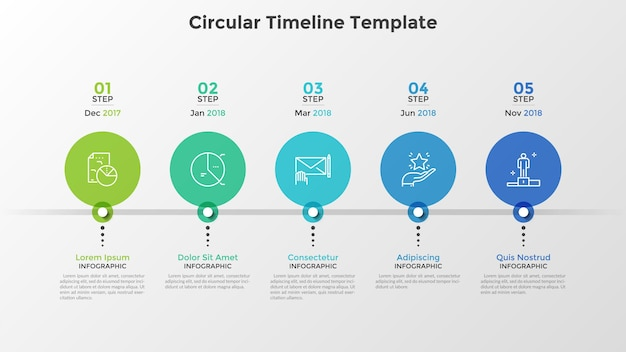 Oś czasu z 5 kolorowymi okrągłymi elementami umieszczonymi w poziomym rzędzie i oznaczeniem daty. pięć kamieni milowych w rozwoju firmy. szablon projektu nowoczesny plansza. ilustracja wektorowa do prezentacji.