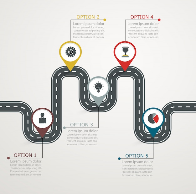 Oś czasu z ikonami biznesu. rozwój struktury krokowej.