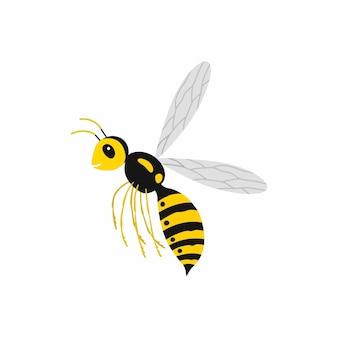 Osa owadów w locie. ilustracja wektorowa na białym tle.