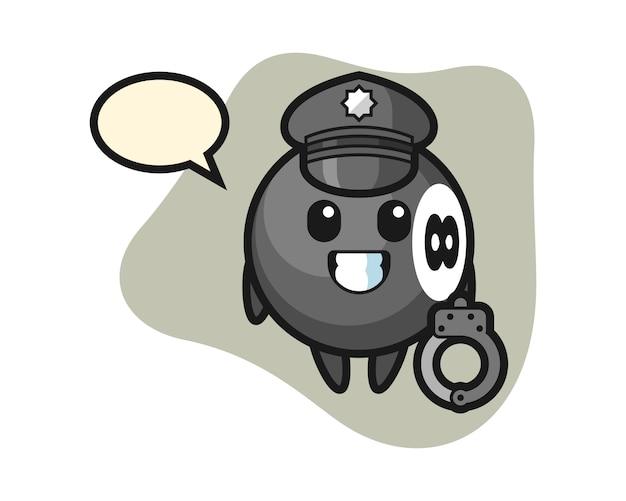 Ósemka bilardowa kreskówka jako policja