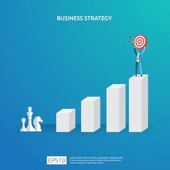 Osiąganie celów biznesowych, wizja i koncepcja planu planowania i zarządzania finansami. udane zarządzanie strategią zysku z inwestycji z postacią szachową i ilustracją celu tarczy