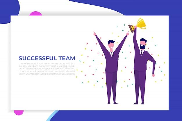 Osiągnięcia zespołu biznesowego, zwycięstwo zespołu, koncepcja wygranej z postaciami. ludzie trzymają kubek i świętują sukces.