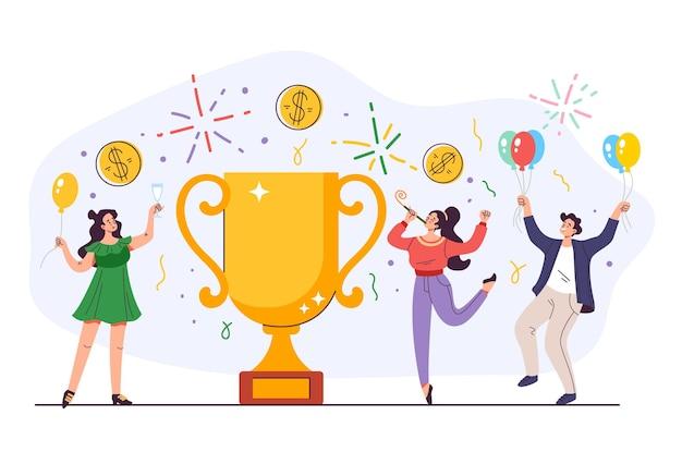 Osiągnięcie sukcesu zespołu ludzi biznesu z koncepcją złotego kubka wektorowa płaska kreskówka graficzna ilustracja