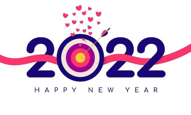 Osiągnięcie wyznaczonego celu w szczęśliwego nowego roku 2022 ilustracja wektorowa