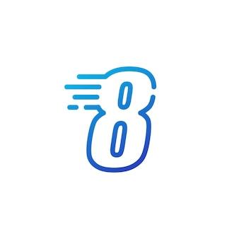 Osiem 8 cyfr kreska szybko szybki cyfrowy znak zarys linii logo wektor ikona ilustracja