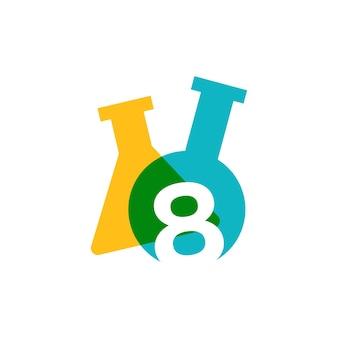 Osiem 8 liczb laboratorium szkło laboratoryjne zlewki logo wektor ikona ilustracja