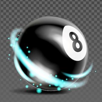 Osiem bilard ball sport gra akcesoria wektor. snooker lub pool black ball z numerem 8, konkurencja sportowa. czarna kula z abstrakcyjnym szablonem światła realistyczna ilustracja 3d