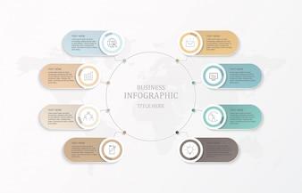 Osiem elementów infographic i biznesowe ikony.