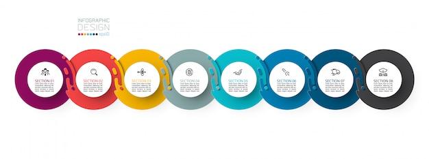 Osiem harmonijnych infografik koła.